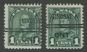 CANADA PRECANCEL LINDSAY 1-163, 1-163b
