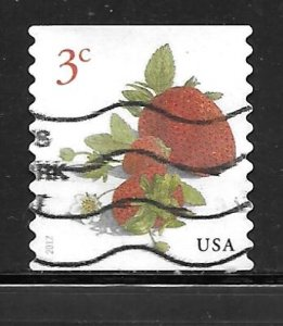 USA 5201: 3c Strawberries, used, off paper, VF