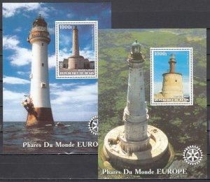 Benin, 2003 Cinderella issue. European Lighthouses on 2 s/sheets.