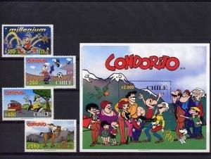 Chile 2000 CONDORITO Cartoons Set (4v) + s/s Perforated Mint (NH)