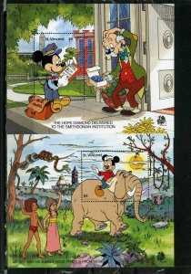 ST.VINCENT 1989 WALT DISNEY CHARACTERS IN INDIA SET OF 2 S/S MNH