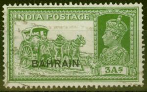 Bahrain 1941 3a Yellow-Green SG26 Fine Used