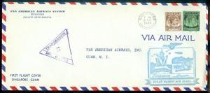 SINGAPORE : 1941 First Flight cover to Guam.