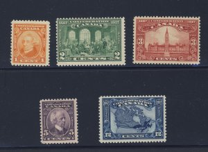 5x Confederation Stamps #141 To 145 3x MNH 2x MH Guide Value = $52.50
