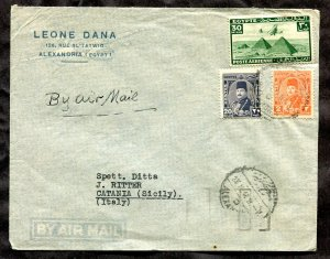 p683 - EGYPT Alexandria 1946 Airmail Cover to ITALY. Lottery Slogan Receiver