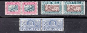J28450, 1938 south africa hv,s of mh set #b6-8 views $68.00 scv