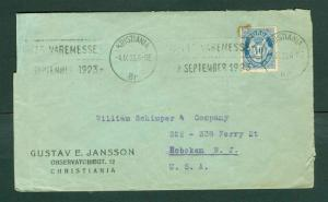 Norway. Cover Cachet Department Store.1923. 40 Ore Posthorn. Adr: USA