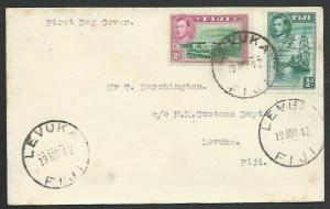 FIJI 1942 GVI ½d & 2d on FDc ex Levuka.....................................61766