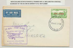 NEW ZEALAND 1932 WELLINGTON- HOKITIKA STAP#57c, RAREST OF SURVEY FLIGHTS