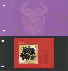 Jersey Year of Ox Stamps 2021 MNH Chinese Lunar New Yr 1v M/S Presentation Pack