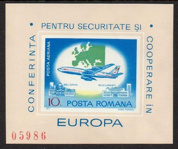 Romania 1977 Aircraft Boeing 707 Imperf SS VF MNH (C212)