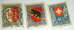 1921 SWITZERLAND Scott #B18-20 Never Hinged  - Used