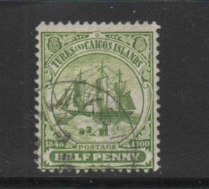 TURKS & CAICOS ISLANDS #1  1900 1/2p  DEPENDENCY'S BADGE    F-VF  USED