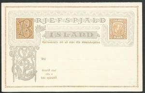 ICELAND Early 5 aur postcard with reply card attached......................59241