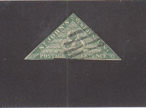 NEWFOUNDLAND (MK6789) # 11A FVF-USED 6p 1860 TRIANGLE IMPERF /GREEN CAT VAL $100