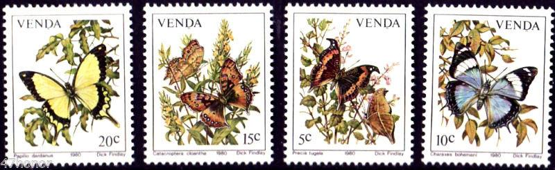 SA Venda 1980 Insects Butterfly Papillon Animals Stamps MNH Sc 36-39