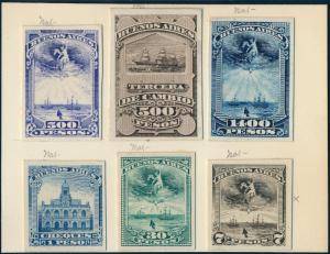 ARGENTINA (6) DIFF. ABNCo XF-SUPERB PLATE PROOFS ON INDIA PAPER EX-GREEN HV5287