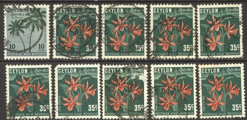 Ceylon Sc# 313-314 Used Lot/9 1951-1952 Coconut Palms & Star Orchid