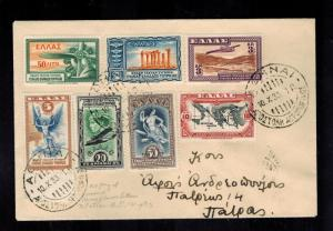 1933 Athens Greece First Day Flight cover FFC FDC to Patras # C8-C14