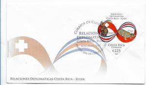 COSTA RICA 2009, FDC, RELATIONSHIPS COSTA RICA SWITZERLAND 1 VALUE FDC SC# 629