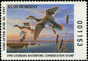 LOUISIANA #8 1996 STATE DUCK STAMP GADWALL By Ron Louque