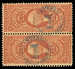 B492 U.S. Revenue Scott R44c 25c Certificate pair, blue 1868 handstamp cancels