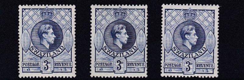 Swaziland 1938 S G 32 32a 32b 3 X 3d Values Mh Hipstamp