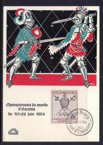 Luxembourg 298 Fencing Maxi Card U/A FDC