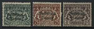 Bavaria1918 overprinted Officials 60, and 75 pf, and 1 mark used