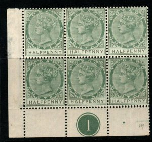 TOBAGO SG20 1886 ½d DULL GREEN PLATE BLOCK OF 6 MNH(MTD IN MARGIN)
