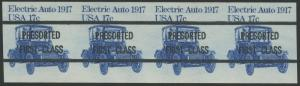 #1906c ELECTRIC AUTO IMPERF STRIP OF 4 MAJOR ERROR CV $1,100 WL8925