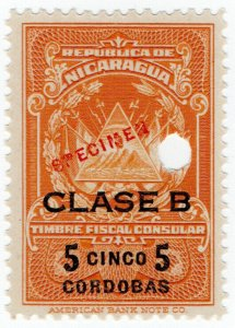(I.B) Nicaragua Revenue : Consular Service 5C (ABN Specimen)