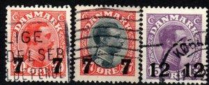 Denmark #182-4  F-VF Used CV $25.50 (X9152)