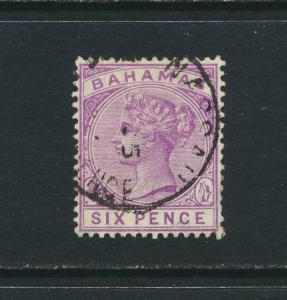 BAHAMAS 1890, 6d WMK CA P14, VF USED SG#54 CAT£38 $50 (SEE BELOW)