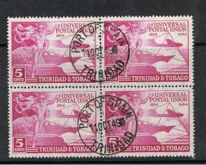 TRINIDAD & TOBAGO 1949 5c VIOLET UNIVERSAL POSTAL UNION - BLOCK OF 4