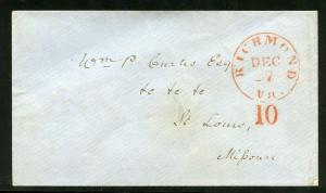 UNITED STATES RICHMOND VA   RED 10 CANEL STAMPLESS  COVER TO ST. LOUIS MISSOURI
