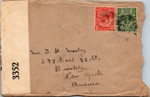 1918 WWI England to Brooklyn NY Censored stamped cover