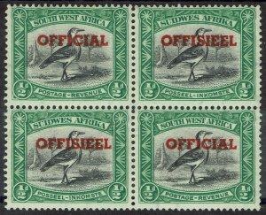 SOUTH WEST AFRICA 1951 OFFICIAL BIRD 1/2D MNH ** BLOCK