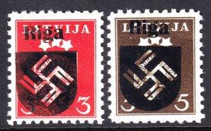 LATVIA 219-220 RIGA OVERPRINTS OG NH U/M VF BEAUTIFUL GUM