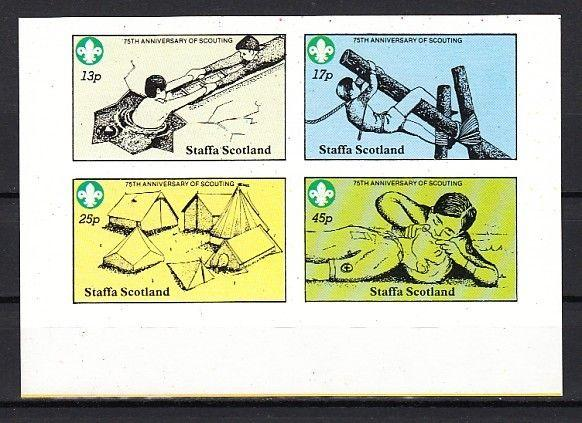 Staffa, Scotland Local. 1982 issue. 75th Scouting Anniversary IMPERF sheet of 4