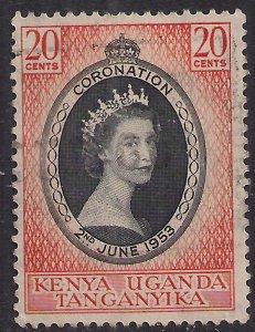 Kenya 1953 QE2 20ct Orange & Black Coronation used SG 165 ( E479 )