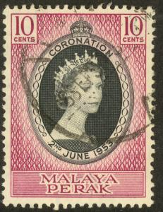 MALAYA PERAK 1953 QE2 CORONATION Issue Sc 126 VFU