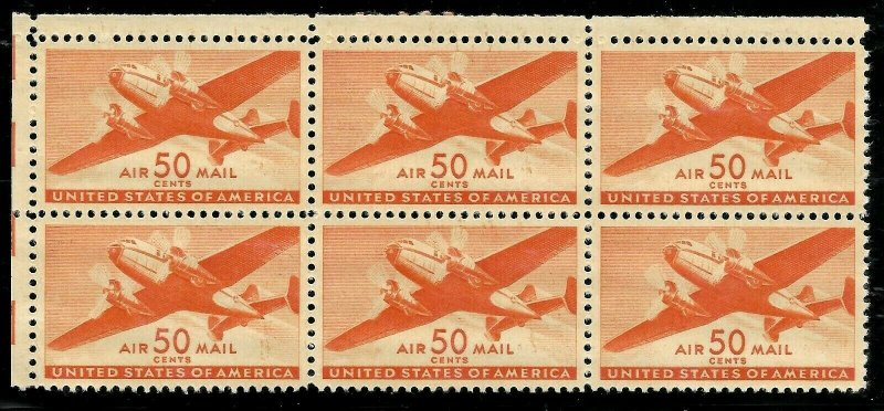 Doyle's_Stamps: Choice Airmail Block of Six 50c Twin-Motored Transport Plane MO7