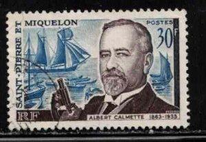 ST PIERRE & MIQUELON Scott # 366 Used 3 - Albert Calmette, Bacteriologist