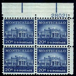 PLATE BLOCK - #1047 20c Monticello (Liberty Series)....VF og NH - start@99c