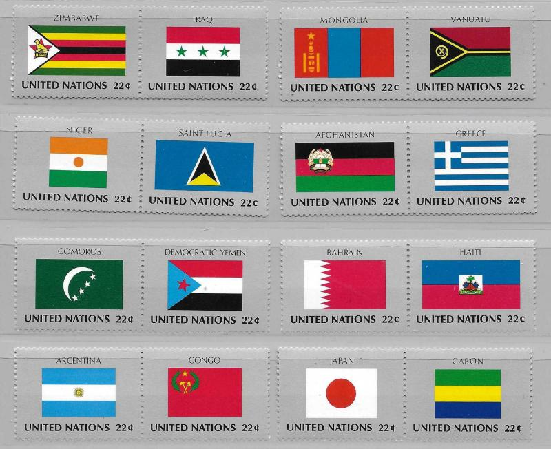 United Nations 499-514 Flags set MNH