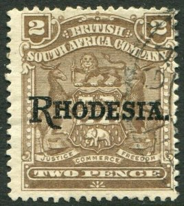 RHODESIA-1909-12 2d Brown Sg 102 GOOD USED V48407