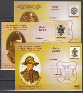 Romania, 2003 issue. 050-052/2003. Scouting on 3 Postal Cards. ^