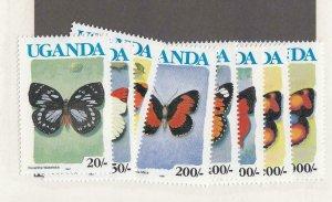 UGANDA (SP82) # 827a,830,833a,835a,836-838,839a VF-MNH 1991 IMPRINT/BLUE UGANDA