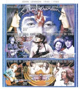 Chad 723 MNH Sheet of 9 Life of John Lennon (ML0296)